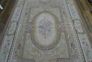 5.5' X 8' Antique Aubusson Hand-woven Floral Rug Coffee Beige Vintage Roses