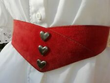Vtg 80s Red Genuine leather Dirndl Oktoberfest Belt. 35 Inch 14/16. Unworn.