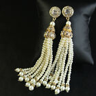 Earring Stud Gold Pearls Fringe Pompon Crystal Long Pendant Baroque Wedding X8