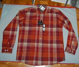 NWT CARHARTT 100087 mens slim fit  burnt orange plaid flannel shirt size M
