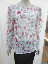 Per Una - Stone / Pink Mix Semi Sheer Long Sleeved Blouse / Top - size 14