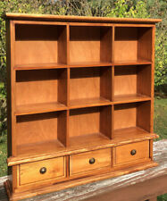 Vintage Wood 4 Tier Wall Shelf With 3 Drawers For Storage Primitive wall Display