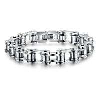 Men's Biker Motorcycle Chain Bracelet Heavy Silver Stainless Steel 8 Inch Bangle