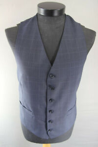 BRAND NEW GARETH SOUTHGATE ENGLAND STYLE BLUE CHECKED PURE WOOL WAISTCOAT 40-44""