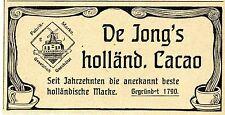 De Jong's holländischer Cacao Klassische Annonce von 1906