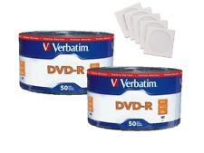 100 Verbatim 16X Blank DVD-R DVDR 4.7GB Logo Top Media Disc 100 Paper Sleeves