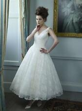 New Tea Length White Ivory stock V-Neck lace Wedding Dress Bridal Gown Size6-16