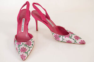 Manolo Blahnik fuchsia pink 7 37 floral embroidered slingback pump shoe NEW $745