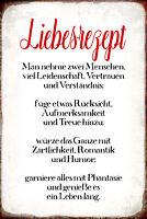 Liebesrezept Rezept Liebe Blechschild Schild gewölbt Tin Sign 20 x 30 cm R0861