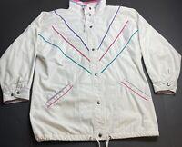 New York Girl Vintage Sz L 80s 90s Windbreaker Jacket White Bold Trench Coat Q41