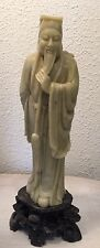 Antique Old Chinese Carved Soapstone Statue Figure Stone Base Asian Man As Is