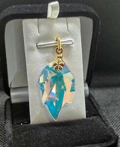 14k Yellow Gold Hologram Crystal Leaf Shape Stone Pendant