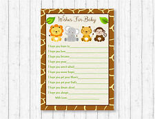 Cute Jungle Safari Animals Printable Baby Shower Wishes for Baby Advice Cards