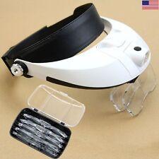 Headband 2 LED Lamp Light Jeweler Head Magnifier Magnifying Glass Loupe & 5 Lens