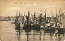 Postcard MA Massachusetts Gloucester Fishing Fleet in Port Essex County 1907-15