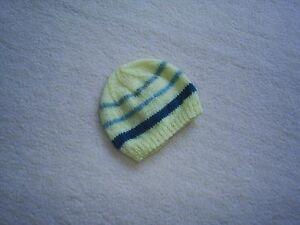 Handknitted baby boys hat/3/6 months/lemon/striped