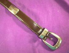 BLACK LEATHER WESTERN STYLE LADIES BELT M/L OXIDIZED SILVERTONE TRIM