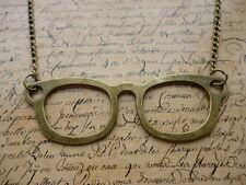 Vintage Bronze Glasses Specs Nerd Hipster Costume Jewellery Necklace + Gift Bag
