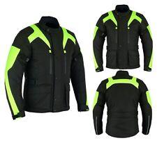 Mens Motorbike Motorcycle Long Jacket DDry Textile Waterproof Duratex Black HViz
