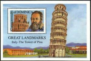 Dominica Stamp - Leaning tower of Pisa Stamp - NH
