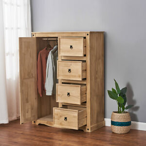 Panana 1 Door Chest of 4 Drawer Solid Pine Low Wardrobe Tallboy Cabinet Unit