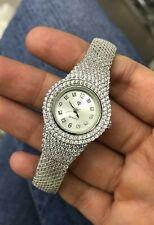 Turkish Handmade Jewelry Zircon Stone Watch Sterling Silver 925 Bracelet Bangle