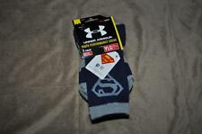 Under Armour Alter Ego SUPERMAN Crew Socks Youth Large Navy Blue /Gray NWT