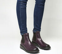 Womens Fly London Purple Leather Pull On  Ankle Boots Size UK 8 *Ex-Display