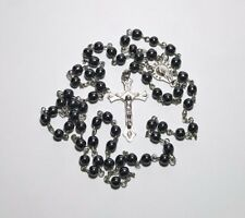 Hematite Rosary necklace with Silver tone Crucifix Beautiful Hematite Rosary