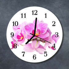 Glass Wall Clock Kitchen Clocks 30 cm round silent Orchids Pink