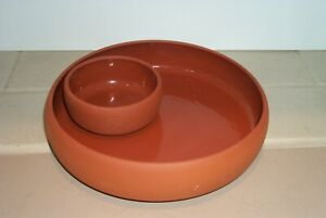POTTERY RED CLAY CHIP AND DIP BOWL VERY NICE