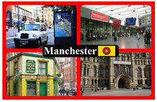 MANCHESTER - SOUVENIR NOVELTY FRIDGE MAGNET - SIGHTS & FLAG - BRAND NEW / GIFT