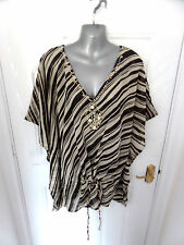 ❤ THE BEACH Gorgeous Size 16 Brown & Cream Beaded Batwing Kaftan Blouse Top