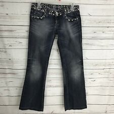Miss Me Women's Jeans Size 26 JP42888 Bootcut Studs Bling Flap Pocket