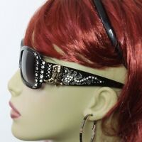 Rhinestone Sunglasses Western Bling Boot Concho Black Frame Gray Lens Gold