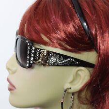 Rhinestone Sunglasses Western Bling Boot Concho Black Frame Gray Lens Gold