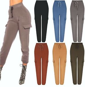 Ladies Womens Combat Trousers Leggings Joggers Spring Summer Lounge Bottoms NEW