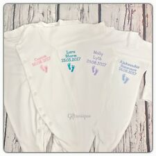 PERSONALISED Baby Grow Sleepsuit ANY NAME BIRTH DATE Keepsake Gift Embroidered