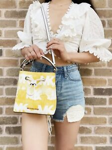 Michael Kors Suri Mini Bucket Bag Crossbody Yellow White Tie Dye Graphic Logo MK