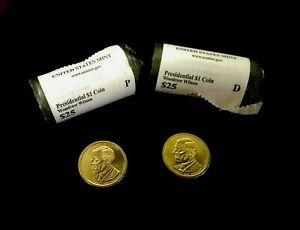 2013P & 2013D Woodrow Wilson Presidential Dollar uncirc coins from mint roll E73