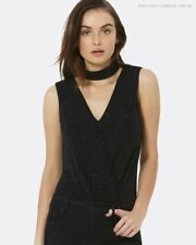 FOREVER NEW Brand Black Sparkle Wrap Bodysuit Size M BNWT #SD54