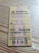 Deutsche Bahn Alte Rückfahrkarte Personenzug von Gelsenkirchen nach Aachen 1975