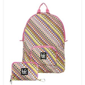 LoveBags Stashable Backpack Foldable Packable Geometric Floral Pink Blue Yellow