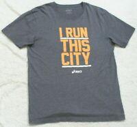 Asics I Run This City Gray & Orange Crewneck Man's Tee T-Shirt Top XL X-Large S9