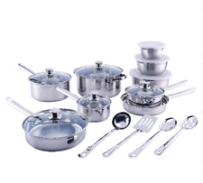 Stainless Steel Cookware Set 18-Piece Kitchen Cooking Pots and Pans Bowls New