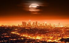 4490 usa city lights night los angeles skyline full moon Canvas Poster 24x38""