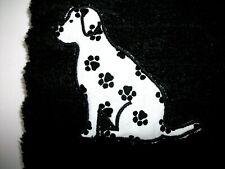 LABRADOR, DALMATIAN, APPLIQUE DOG DESIGN ON A BLACK TOWEL