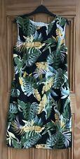 Ex Wallis New Black Green White Floral Tropical Shift Tunic Dress Size 14