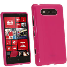 Pink Glossy TPU Gel Case for Nokia Lumia 820 Windows Skin Cover Shell Holder