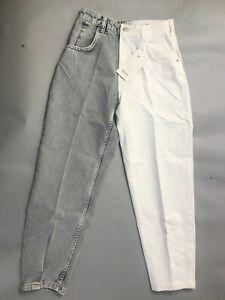 Bershka Twill contrast two-tone mom trousers uk 8